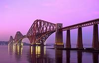 Evening dusk over the Forth Railway Bridge Scotland.