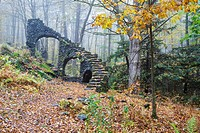 Madame Antoinette Sherri's castle ruins in Madame Sherri Forest of Chesterfield, New Hampshire USA during the autumn months. Madame Antoinette Sherri ...