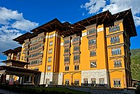 Exterior of the Taj Tashi Hotel, Thimphu, Bhutan.
