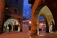 Arcade, Plaça Major at dawn, Banyoles, Catalonia, Spain