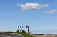 Left only turn sign on rural road, Indre et Loire, France.