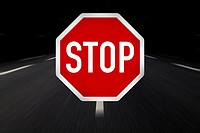 stop traffic sign on highway.