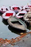 Boats anchored at the ghats of Varanasi.