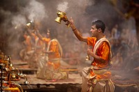 Ganga Aarti takes place everyday at dusk at Dashashwamedh Ghat.