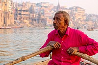 The boatmen that row the boats along the ghats of Varanasi.