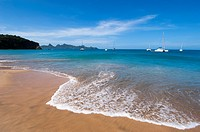 Sandy beach on Mayreau Island, a small island in the Grenadines in the Caribbean.