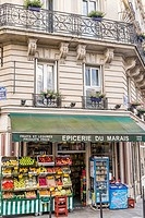 fresh fruit on display at a grocery shop in the marais district, paris, ile de france, france.