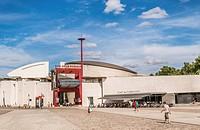 entrance of concert hall and music museum _cité de la musique_, parc de la villette, paris, ile de france, france.