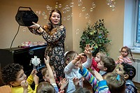 Jewish children celebrate Hanukkah in Kiev Jewish Messianic Congregation Center, Kiev, Ukraine.