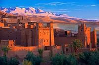 Ait Benhaddou Kasbah, UNESCO World Heritage Site, at dawn, High Atlas Mountains, ksar Ait Benhaddou, Ouarzazate Province, Souss Massa Draâ region, Mor...