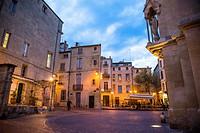 Square of St Anne at dusk, Montpellier, France.