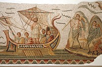 Mosaic scene from Homer´s Odyssey, Ulysses meeting with sirens in The Bardo museum in Tunis, capital of Tunisia.