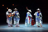 "Musicians playing a song from the Purepecha Plateau at """"Mexico Espectacular"""" show, Xcaret, Playa del Carmen, Riviera Maya, Yucatan, Mexico, Central ..."