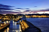 Night view of San Sebastian from Port, Guipuzcoa, Basque Country, Spain