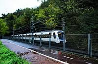 commuter train in San Sebatian, Guipuzcoa, Spain