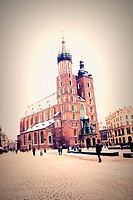 The Main Market Square and St Mary´s Church in Krakow, Poland.