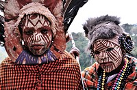 Traditional garment and war paint of the Kikuyu tribe in Kenya.