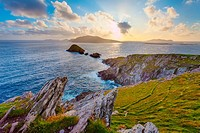 scenic irish west coast, looking from dingle peninsula (Europe`s most westerly point) in western ireland towards blasket islands while the sky is clea...