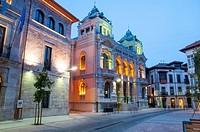 Casino, night view. Llanes, Asturias, Spain.