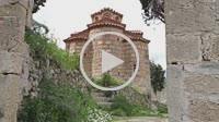 The Evaggelistria byzantine church (Annunciation). Mystras. Laconia, Peloponnese. Greece