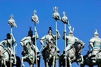Detail of entrance gate to the Genghis Khan Statue Complex featuring the largest equestrian statue in the world (43 metres or 131 feet tall) perched o...
