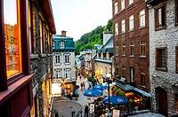 Twilight scene of the Rue du Petit Champlain. Quebec City, Canada