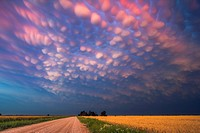 Intense mammatus clouds form over northern Oklahoma.