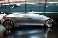 Detroit, Michigan - The Mercedes-Benz F015 concept car on display at the North American International Auto Show. The seats are arranged so that passen...