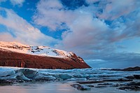 View of Svinafellsjokull glacier at sunset. Vatnajokull National Park. Iceland.