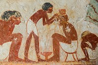 UNESCO World Heritage, Thebes in Egypt, Valley of the Nobles, tomb of Userhat (number 56, as there are other tomb owners called Userhat). A barber.