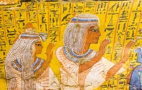 UNESCO World Heritage, Thebes in Egypt, Deir el Medineh, tomb of Irynefer, a couple praying. They wear remarkable white wigs.