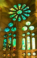 Barcelona Spain Le Sagrada Familia Church stain glass interior of Gaudi designer Basilica church pillars started in 1882.