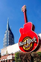 The Hard Rock Cafe sign in downtown Nashville Tennessee.