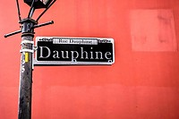 Rue Dauphine street sign in New Orleans French Quarter Louisianna.