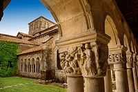 Cloister of the Romanesque Collegiate Church of Santa Juliana, Santillana del Mar, Cantabria, Spain