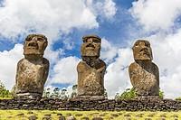 Moai at Ahu Akivi, the first restored altar on Easter Island, Isla de Pascua, Rapa Nui, Chile.