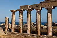 Temple C columns at the Acropolis of Selinunte the ancient Greek city on the southern coast of Sicily, Italy, Europe.