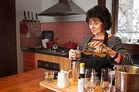 Preparing Pisco Sour, Chile´s national drink, Cooking class, Bellavista district, Santiago, Chile, South America.
