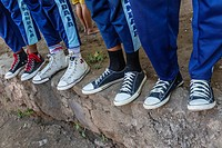 Shoes of school children in Mudakeputu village, just outside Larantuka, capital city of Flores Island, Indonesia.