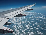 Airplane wing above Cuba.