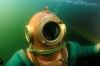 Professional diver rises by a surface. Japan sea, Far East, Primorsky Krai, Vladivostok, Russian Federation.