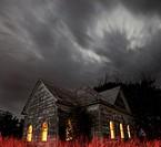 Stormy night sky at an Abandoned Church near Walters, Oklahoma.