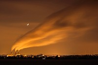 Crescent moon shines above wind blown plant steam in north Omaha.