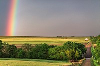 Rainbow shines over the countryside in northern Kansas.
