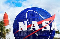NASA sign at the entrance to the Kennedy Space Center, Cape Canaveral, Florida, America.