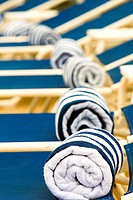 Available pool side towels for Passengers. Cunard´s Queen Victoria.