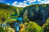 Travertine cascades on the Korana River, Plitvice Lakes National Park, Croatia.