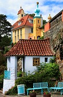 The ornate architecture of Portmeirion, Wales, Europe.