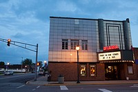 Diana Movie Theater at twilight, Tipton, Indiana, IN, USA.