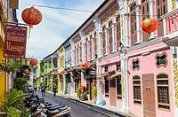 Renovated heritage architecture of Soi Rommanee in Phuket Old Town, Phuket Island, Thailand.